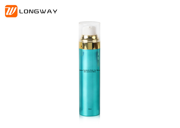 High End Empty Airless Pump Bottle With Gold UV Electroplating Collar